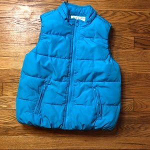 5/$20 Justice solid blue puffer winter vest 12